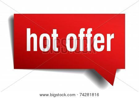 Hot Offer Red 3D Realistic Paper Speech Bubble