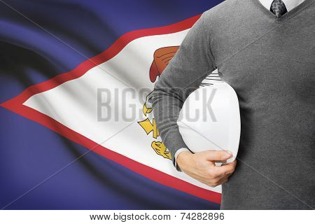 Engineer With Flag On Background - American Samoa