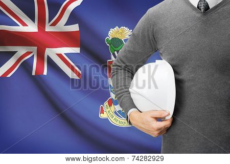 Engineer With Flag On Background - Cayman Islands