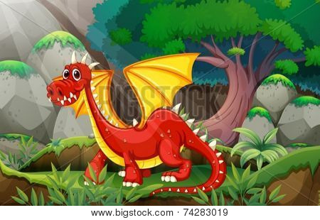Illustration of a dragon in a jungle