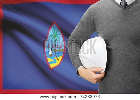 Engineer With Flag On Background - Guam