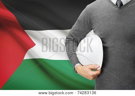 Engineer With Flag On Background - Palestine