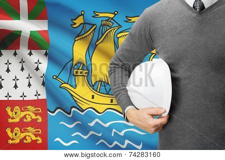 Engineer With Flag On Background - Saint-pierre And Miquelon