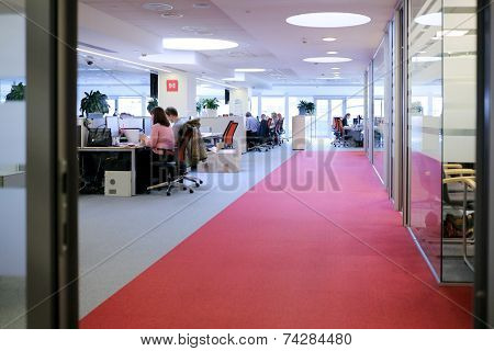 MOSCOW, RUSSIA - APR 10, 2014: Employees in office building in the Moscow exchange