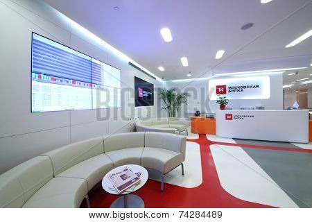 MOSCOW, RUSSIA - APR 10, 2014: Reception area for visitors to Moscow Exchange. It conducts trade stocks, bonds, precious metals and currencies
