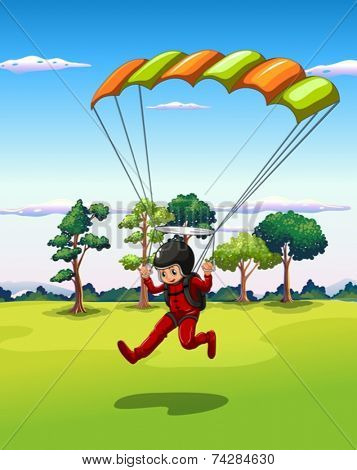Illustration of a man playing hang glider