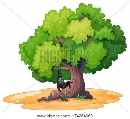 Illustration of a gibbon hanging under a tree
