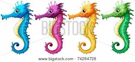 Illustration of many seahorses