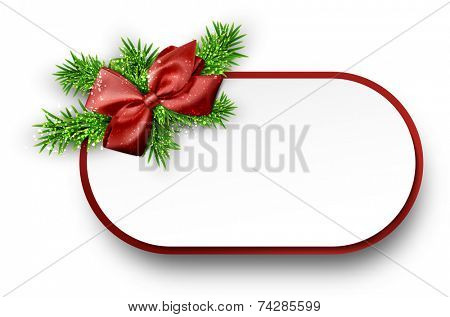 Christmas gift card with red bow and spruce twigs. Vector illustration.