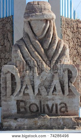 The monument with logo of 'Dakar' rally in Uyuni