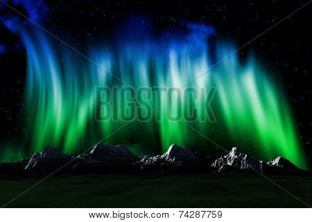 3D render of a mountain landscape with a sky with Northern lights