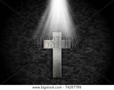 Detailed grunge brick wall background with a metallic cross design