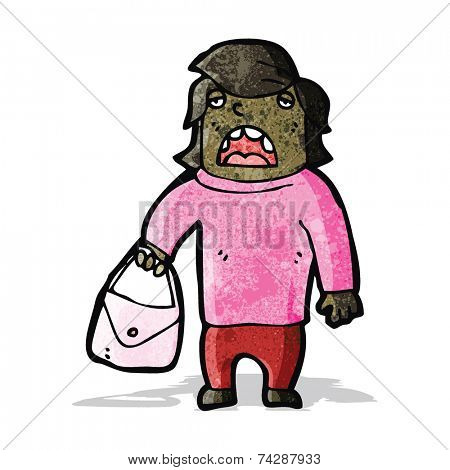 cartoon ugly woman with handbag