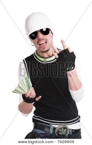 der junge Mann mit Geld