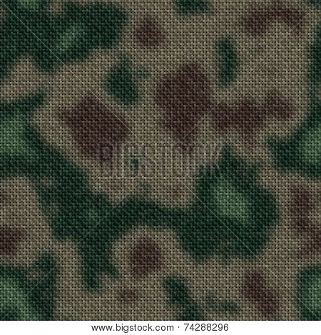 Army Green And Brown Woodland Camouflage Fabric Texture Background