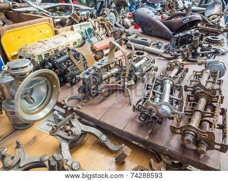 Vintage Bike Parts On Display At L'eroica, Italy