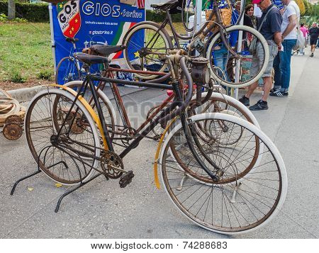 Vintage Bicycles On Display At L'eroica, Italy