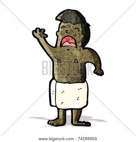 cartoon man dressed in towel