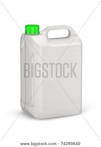 White plastic canister isolated on white background