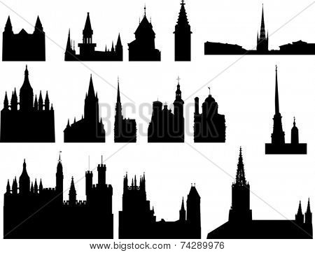 illustration with church silhouettes collection isolated on white background