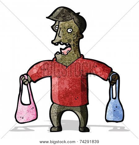 cartoon man carrying handbags