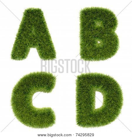3D Grass Alphabet Series 1