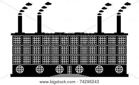Factory Building Icon On White
