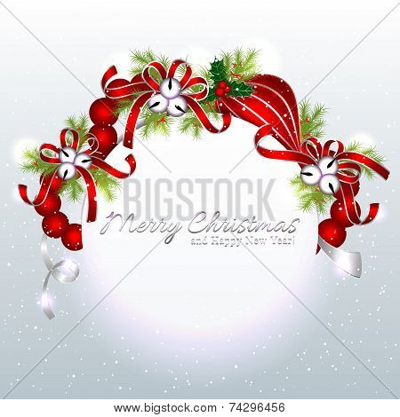 Red Silver Christmas Ornament Background