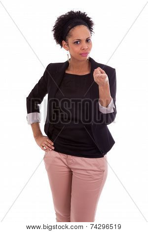 African American Business Woman Pointing Finger - Black People