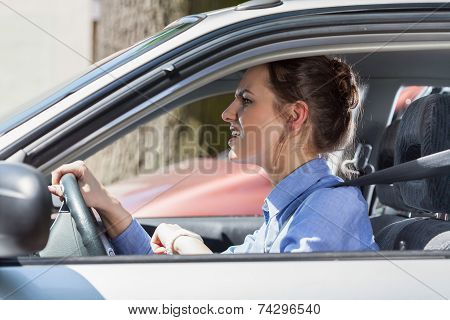 Furious Woman Standing In A Traffic Jam