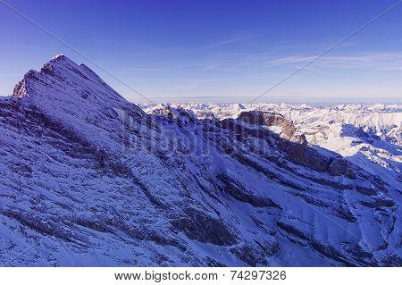Jungfrau Peak Helicopter View In Winter