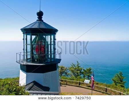Cape Meares Lighthouse On The Oregon Coast On A Clear, Sunny Day