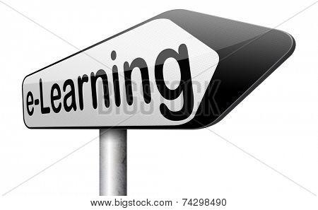 e-learning road sign online education internet learning in open school or university virtual elearning