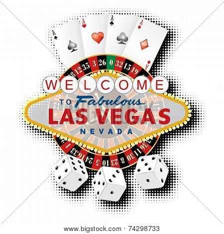 vector american roulette wheel with Las Vegas sign, playing cards and dice