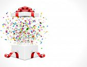foto of confetti  - Gift box open and with red bow and ribbon vector illustration - JPG