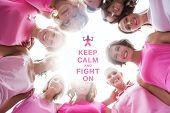picture of  breasts  - Happy women smiling in circle wearing pink for breast cancer against breast cancer awareness message - JPG