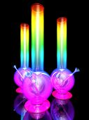 picture of bong  - Three bongs isolated on black background 3D rendering - JPG