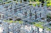 Постер, плакат: Electrical Power Substation Transformers Insulators