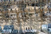 stock photo of substation  - electrical energy and power substation transformers insulators - JPG