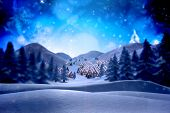 stock photo of fir  - Cute christmas village against snowy landscape with fir trees - JPG