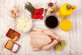stock photo of jerk  - jerk chicken cooking ingredients on the white woooden table - JPG