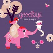 picture of life after death  - Goodbye little girl condolences after death baby daughter postcard cover design in vector - JPG
