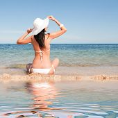 image of swimsuit model  - Young fashion woman on the summer beach