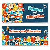 image of quantum physics  - Science and education areas colored paper stickers set on blue background horizontal banner set isolated vector illustration - JPG