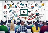 stock photo of ebusiness  - Diverse People in a Seminar About Digital Marketing - JPG