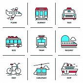 stock photo of railroad car  - Flat line icons set of various transportation vehicle like plane subway taxi bus tramway train bike cableway and sea ship - JPG