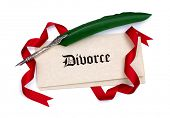 pic of divorce-papers  - Divorce papers quill pen and red ribbon isolated on white - JPG