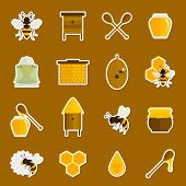 stock photo of honey bee hive  - Bee honey icons stickers set with spoon jar bumblebee isolated vector illustration - JPG