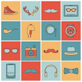 foto of geek  - Hipster geek urban fashion elements and accessories flat line icons set isolated vector illustration - JPG