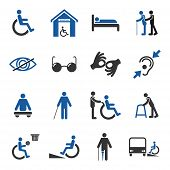 stock photo of disable  - Disabled people care help assistance and accessibility icons set isolated vector illustration - JPG